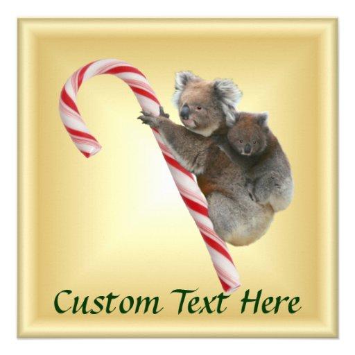 Koalas do bastão de doces do Natal Convite Personalizado