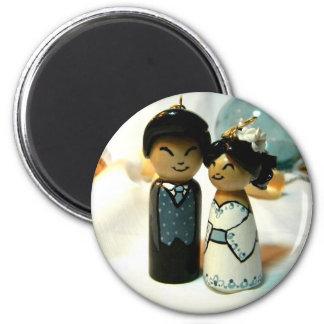 Kokeshi que Wedding II Ímã Redondo 5.08cm