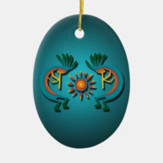 Kokopelli com enfeites de natal do costume de Sun