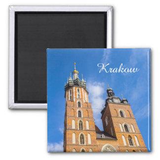 Krakow, igreja de Marys da rua, Polônia, ímã Ímã Quadrado