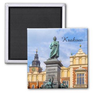 Krakow, um monumento de Mickiewicz, Polônia, ímã Ímã Quadrado