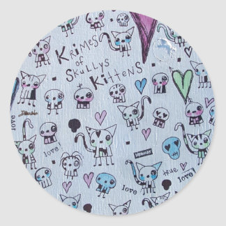 Krimes de Skullys & de gatinhos Adesivo