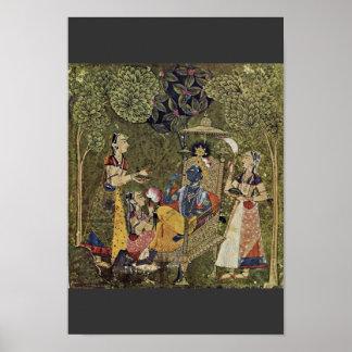 Krishna e as meninas por Indischer Maler Um 1710 ( Pôster