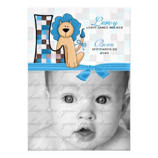 """""""L Monogrammed"""" anúncio azul do nascimento do leão Convites Personalizados"""