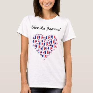 La France de Vive eu amo o coração da bandeira de Camiseta