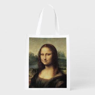 La Gioconda de Mona Lisa por Leonardo da Vinci Sacolas Ecológicas Para Supermercado