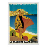 """La poster das viagens vintage do de Plage Calvi"""
