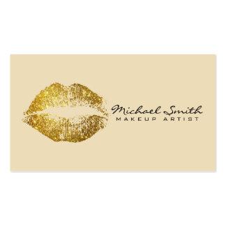 Lábios #2 do ouro do maquilhador cartão de visita