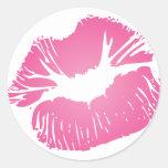 Lábios cor-de-rosa adesivos redondos