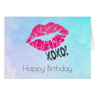 """Lábios cor-de-rosa """"sexy"""" de Kissy com xoxo! Cartão Comemorativo"""
