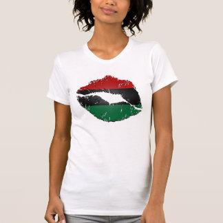 Lábios da bandeira do afro-americano t-shirt