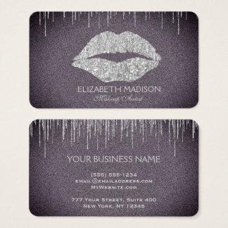 Lábios do brilho da prata do maquilhador com roxo cartão de visitas
