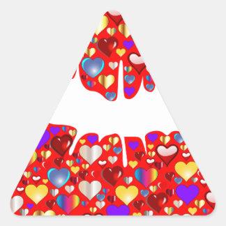 Lábios do coração adesivo triangular