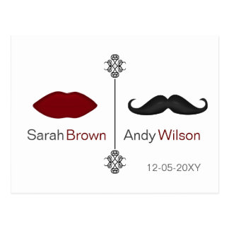 lábios e cartões do rsvp do casamento da modificaç cartoes postais