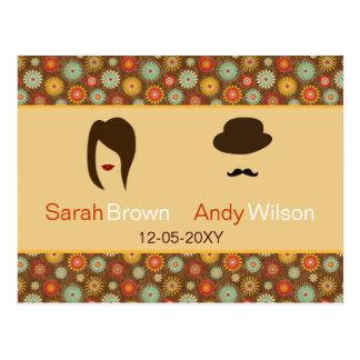 lábios e rsvp floral retro do casamento do bigode cartões postais