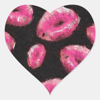 Lábios fluorescentes do abstrato do rosa adesivo coração