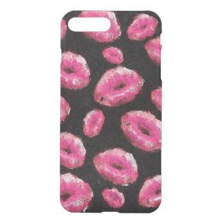 Lábios fluorescentes do abstrato do rosa capa iPhone 7 plus