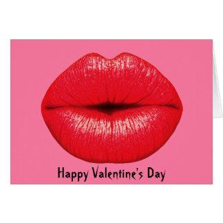 Lábios grandes do pop art do batom vermelho no cartão comemorativo