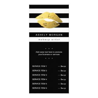 Lábios modernos do ouro da composição - listras 10.16 x 22.86cm panfleto