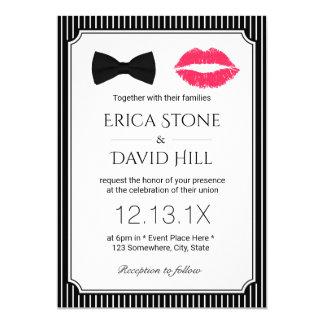 Lábios vermelhos & casamento clássico do laço convite 12.7 x 17.78cm