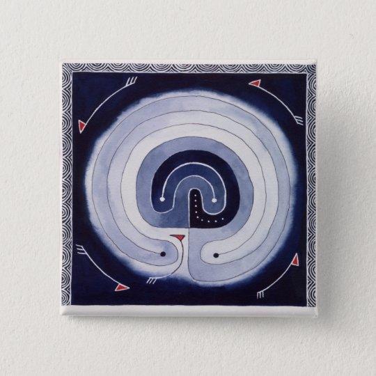 Labirinto pintado bóton quadrado 5.08cm