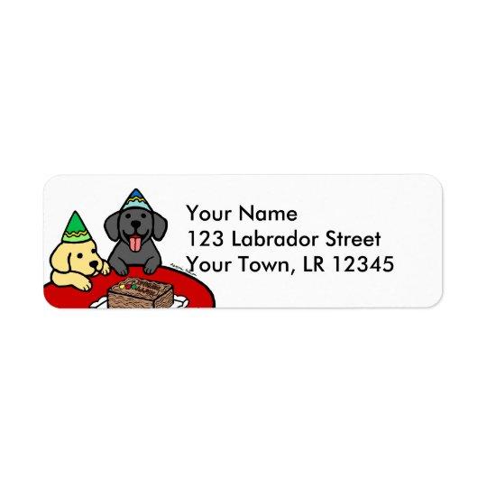 Laboratório amarelo & aniversário preto do laborat etiqueta endereço de retorno