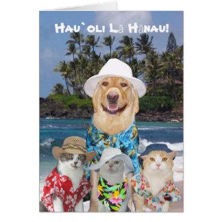Laboratório amarelo havaiano customizável & cartão comemorativo