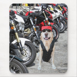 Laboratório/cão do motociclista mouse pad