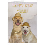 Laboratório customizável/cães do feliz ano novo cartão comemorativo