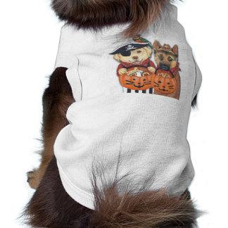 Laboratório, pastor, e papagaio do Dia das Bruxas Camisa Sem Mangas Para Cachorro