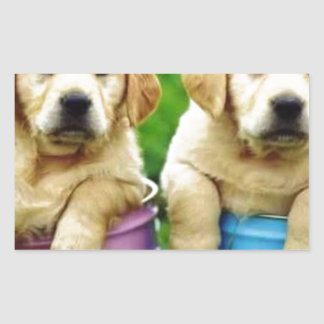 Labrador persegue puppys angie adesivo retangular