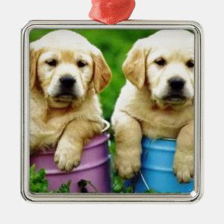 Labrador persegue puppys angie enfeites para arvores de natal