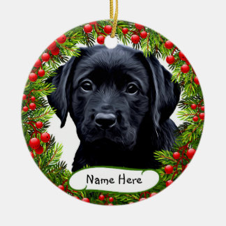 Labrador preto - ornamento cerâmico da grinalda