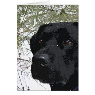 Labrador preto - pinhos Sparkling Cartão