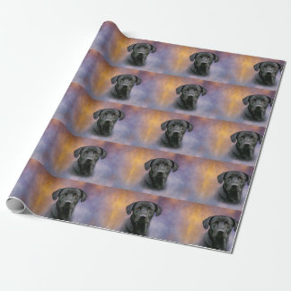Labrador retriever preto papel de presente