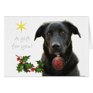 Labrador retriever preto que traz o presente cartao