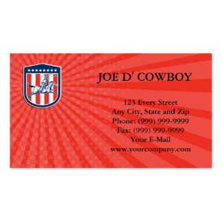 Laço americano do cavalo do vaqueiro do rodeio do cartões de visitas