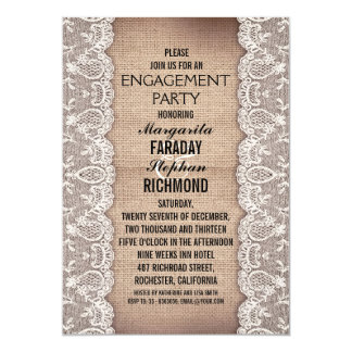 laço antigo e festa de noivado rústica de convite 12.7 x 17.78cm