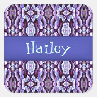Laço azul elegante adesivos quadrados