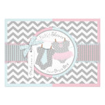 Laço azul & tutu & chá de fraldas cor-de-rosa dos