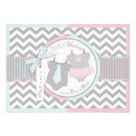 Laço azul & tutu & chá de fraldas cor-de-rosa dos  convites