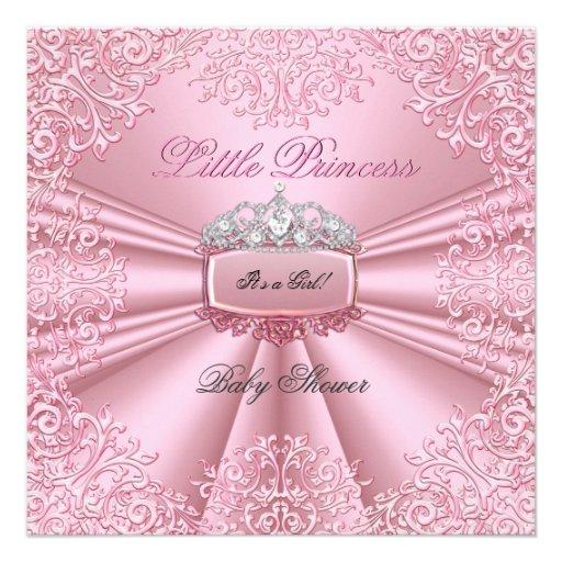 Laço bonito 2 da princesa Tiara do rosa da menina  Convite Personalizados