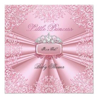 Laço bonito 2 da princesa Tiara do rosa da menina Convite Quadrado 13.35 X 13.35cm
