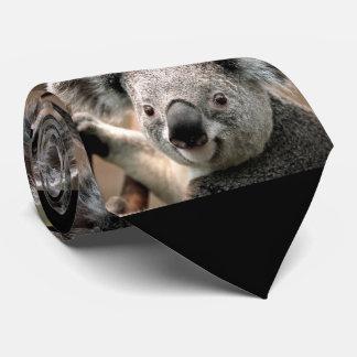 Laço bonito da foto do urso de Koala (fundo preto) Gravata