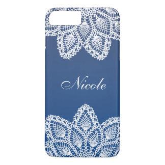 Laço branco com fundo azul náutico capa iPhone 7 plus