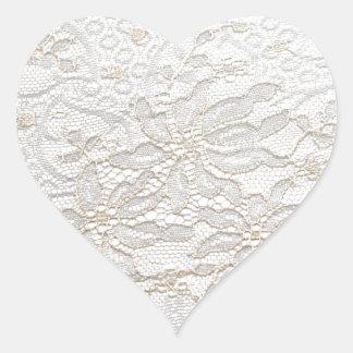 Laço branco de Chantilly Adesivo Coração