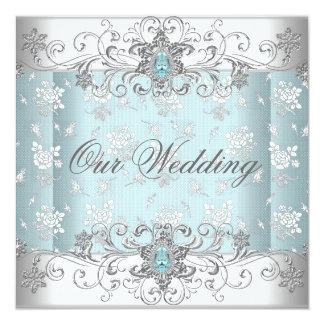 Laço branco de prata azul Wedding da jóia do Convites
