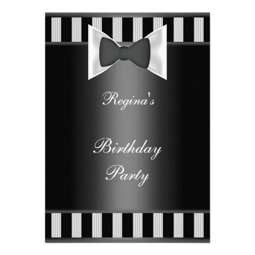 Laço branco preto da listra da festa de aniversári convite personalizado