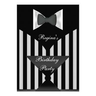 Laço branco preto da listra da festa de aniversári convite personalizados