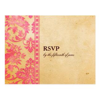 Laço cor-de-rosa do damasco do vintage que Wedding Cartões Postais